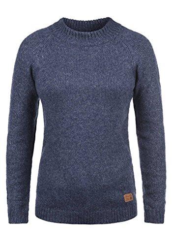 BlendShe Khola Damen Winter Strickpullover Troyer Grobstrick Pullover mit Stehkragen, Größe:XL, Farbe:Peacoat (24012)