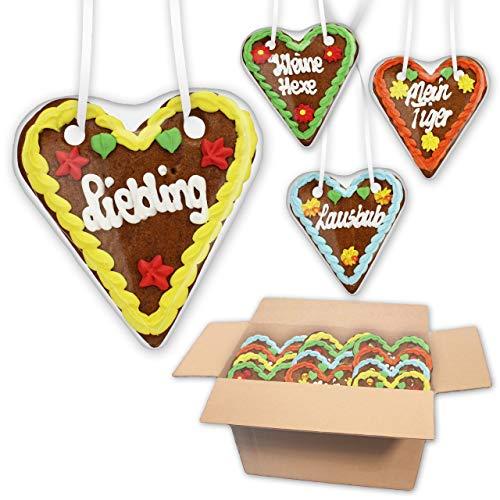 50 Stück Lebkuchen Herzen Mischkarton mit versch. Sprüchen - 14cm - Lebkuchenherzen als Dekoration für Oktoberfest Mottoparty - Lebkuchenherz online günstig kaufen | LEBKUCHEN WELT