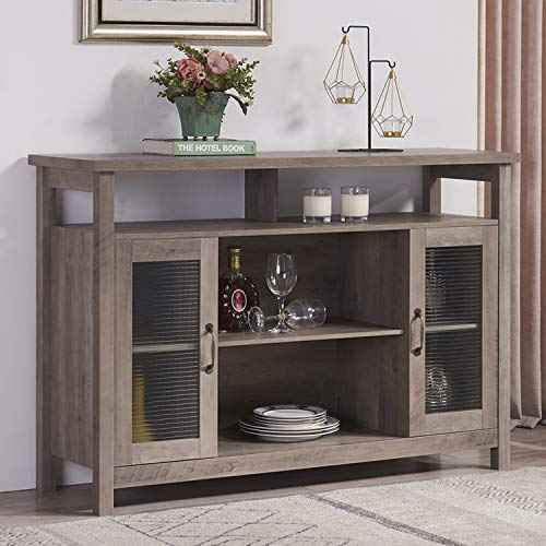 Mixcept Retro Style Sideboard Buffet Table, Cupboard Console Table, Kitchen Dining Server Storage Cabinet, Gray Wash