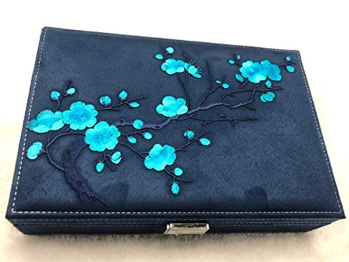 dressing box Jewellery Organizer Jewelry BoxEmbroidered Velvet Jewelry Box, Gift Wind Jewelry Box With Lock Box 26*18*6 Single layer of Tibetan cyan