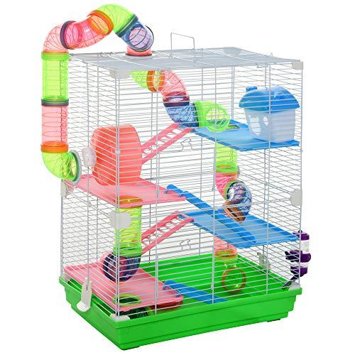 Pawhut Hamsterkäfig mit Zubehör Nagerkäfig Mäusekäfig Hamster Rohrsystem,Metall, Grün+ Weiß, 46 x 30 x 58 cm