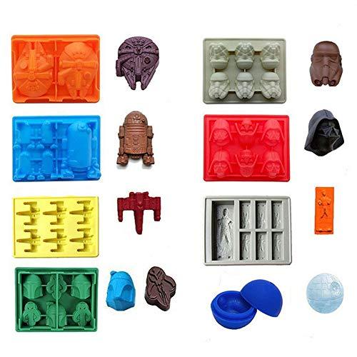 ECOSWAY 8-teiliges Set Star Wars Eiswürfelschalen/Schokoladenformen aus Silikon: Stormtrooper, Darth Vader, X-Wing Fighter, Millennium Falcon, R2-D2, Han Solo, Boba Fett, und Todesstern