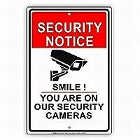 165新しいブリキサインセキュリティ通知笑顔あなたは私たちの警告通知にいますカメラビデオサバイランスCCTVサイン壁の装飾のためのアルミニウム金属サイン8x12インチ
