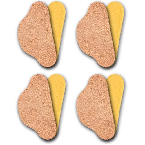 Omniskus 4 Paare Leder Fersenschutz Fersenhalter Fersenkissen Fersenpolster Reparatur für Schuhe Set selbstklebende Schuheinlagen Schuhpads Fersenpflaster (Beige)