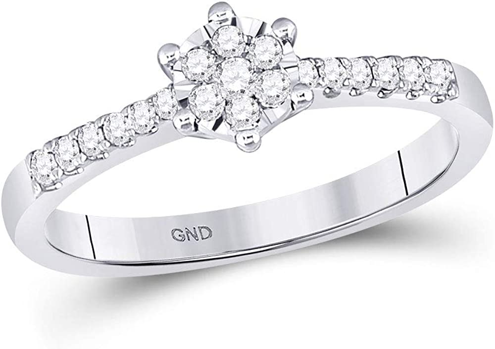 10kt White Gold Womens Round Ba Dedication Flower Cluster Stackable Limited Special Price Diamond