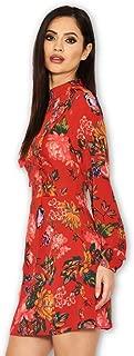 AX Paris Women's Floral Long Sleeve Frill Dress
