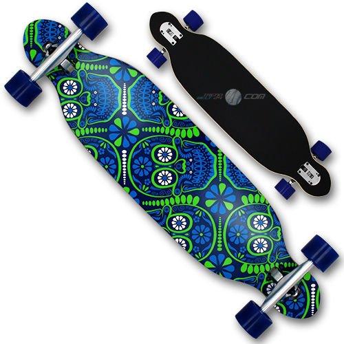XQ Max Skull Party Longboard Mixte Adulte, Bleu/Vert