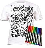 Splat Planet T-Shirt pour Enfant Motif Licorne À Peindre et à colorier Livré avec 10 Crayons Magiques lavables - Blanc - 7-8 Ans