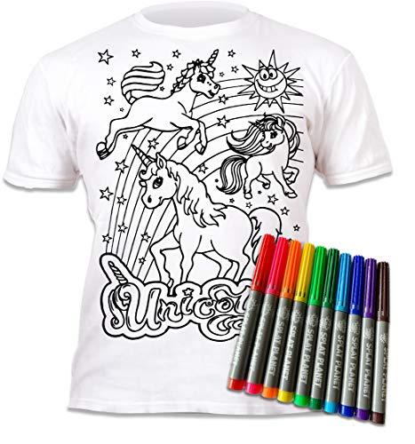 Splat Planet - Camiseta para niña, diseño de Unicornio para Pintar y Colorear con impresión. Incluye 6 rotuladores Magic Lavables. para cumpleaños Infantiles. Blanco 12-13 Años