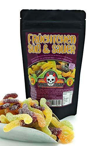 Früchtchen süß & sauer - veganes Fruchtgummi - 200g - Hotskala: 0 im ZIP Beutel