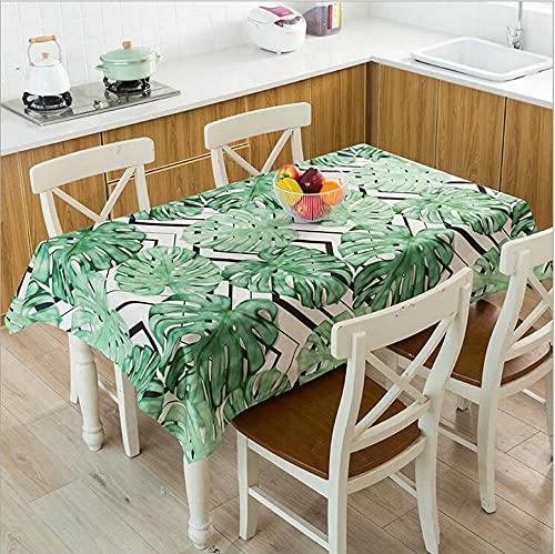 XXDD Mantel Impermeable con Estampado de Hojas de Plantas Tropicales, Mantel de Cocina, Mesa de Comedor, decoración del hogar, Mantel A10 140x160cm