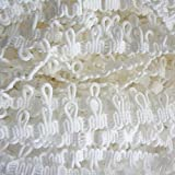 5 Yard Loop Lace Edge Corset Button Braid Cord Ribbon 15mm Width Vintage Style Edging Trimmings Fabric Embroidered Applique Sewing Craft Wedding Bridal Dress DIY Decoration(White)