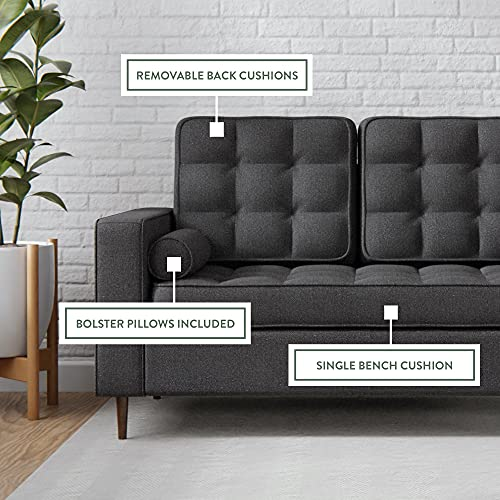 Edenbrook Lynnwood Upholstered Sofa with Square Arms and Tufting-Bolster Throw Pillows Included, Charcoal