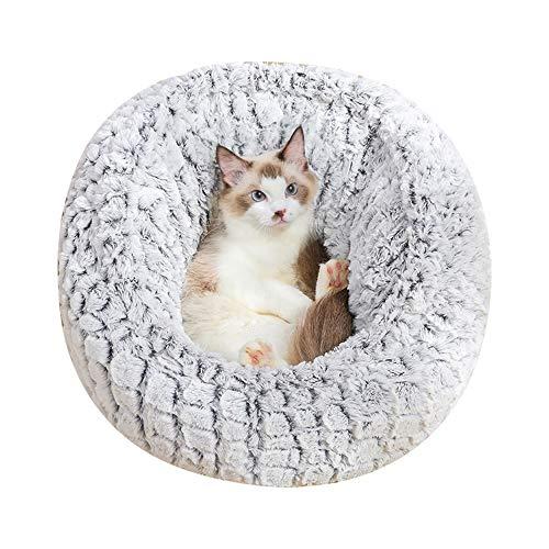 AcornPets B-142 Premium 60cm Large Size Grey Donut Cats Sofa Round Warm Cuddler Kennel Soft Puppy Bed