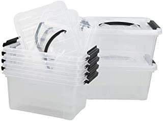 Bringer 6-Pack Storage Latch Boxes, Clear, 5.5 Quart