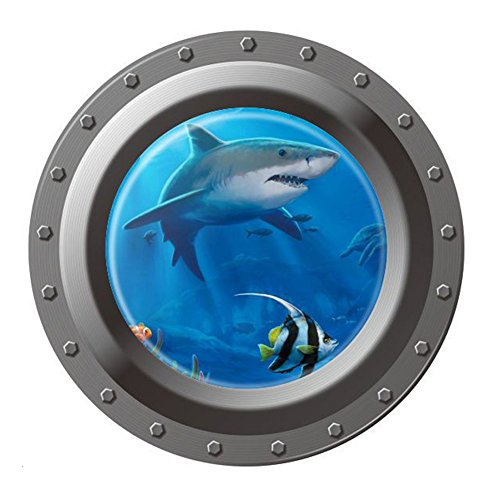 GLOBEAGLE Shark Ocean View Wall Sticker 3D Porthole Window Room Home Decor Art