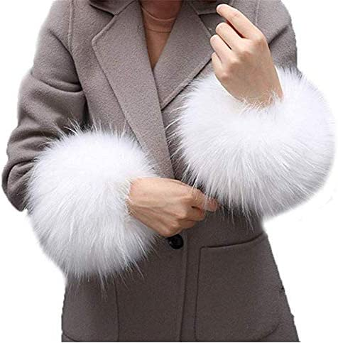 Faux Fur Wrist Cuffs Arm Leg Warmers Winter Boot Cuffs Warm Band Ring For Women White A product image