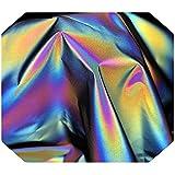 Tela reflectante arcoíris con matices holográficos para coser, 140 cm x 1 m