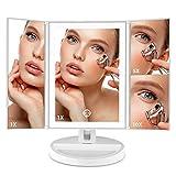 Auxmir Espejo Maquillaje con Luz LED de Mesa con Espejo Aumento de 10X, 180 ° de Rotación, con Pantalla Táctil, LED con Iluminación Natural, para Maquillaje, Afeitado y Cuidado Facial, Blanco