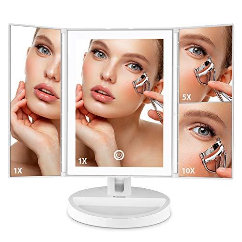 Auxmir Miroir de Maquillage Lumineux LED 3 Faces 1X / 5X / 10X Grossissement Pliable avec Plateau de Rangement, Écran Tactile, Luminosité Variable, Blanc