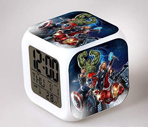 Sunshine Grocery Marvel's The Avengers Bedroom Clock LED 7 Color Flash Digital Alarm Clocks Kids Bedroom Wake Up Clock Free Drop Shipping,Sky Blue