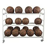 Pelota Carro Rack de Almacenamiento de Deportes de Pelota de Baloncesto en Rack for el Baloncesto fútbol Voleibol Carros portabalones (Color : White, Size : Storage 20 Balls)