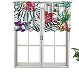 Hiiiman Cenefas de cortina con bolsillo para barra, cortinas tropicales, orquídeas silvestres con estampado de hojas de palma, estilo exótico, juego de 1, 127 x 45 cm para ventana de cocina