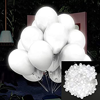 50 Pack LED Light Up Balloons White Zodight Non Flashing Luminous Balloons Glowing Latex Balloons for Party Birthday Wedding Festival Decorations Fillable with Helium or Air  Steady Lights