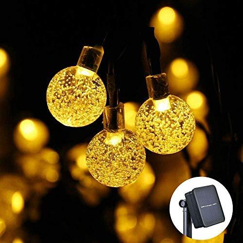 TYGJ Guirnaldas Luces Exterior Solar Luz Cadena de 30 LED blanco cálido burbuja del grano Luz de la secuencia Al aire libre día de Decoracion para Navidad Terraza Hogar Jardín Arboles Patio Bodas