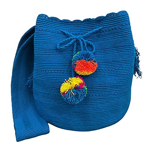 Ancdream Bolso Wayuu, bolsos tejidos de algodón de color liso para mujer, bolso cruzado para mujer, bolso Hobo, color 52#