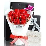 ソープフラワー 花束 プレゼント ギフト 誕生日 母の日 メッセージカード付き (赤)