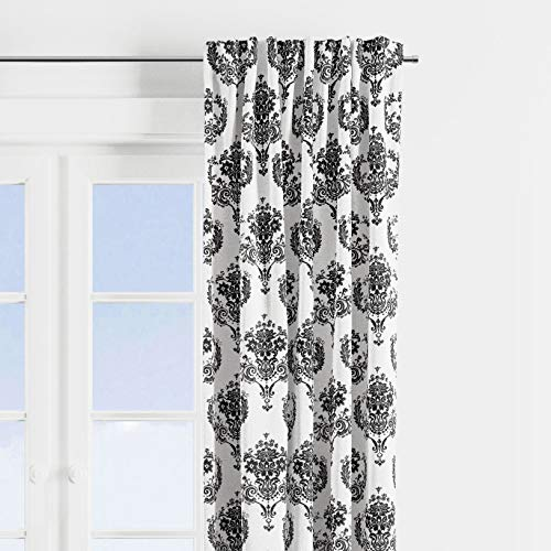 Bacati - Classic Damask White/Black Curtain Panel