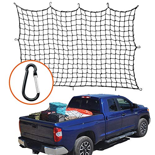 VISLONE 4'x6' SUV Luggage Net Bungee Cargo Net Strech Super Duty Mesh Holds Adjustable Hooks for Car Pickup Truck SUV Trailer Boat RV