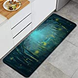 ZOMOY Extra Long Kitchen Mats Fantasy Deer Animal elk in Psychedelic Forest and Firefly Anti Fatigue Comfort Kitchen Floor Mat Non Slip for Home,17.7'x47.2'