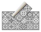 Alfombra Vinílica Hidráulica (120 x 60 cm, Negro-Gris) - Distintos Colores y tamaños - Alfombra Cocina, baño, salón Comedor - Antideslizante - Alfombra Dormitorio - Goma esponjosa y Suelo PVC