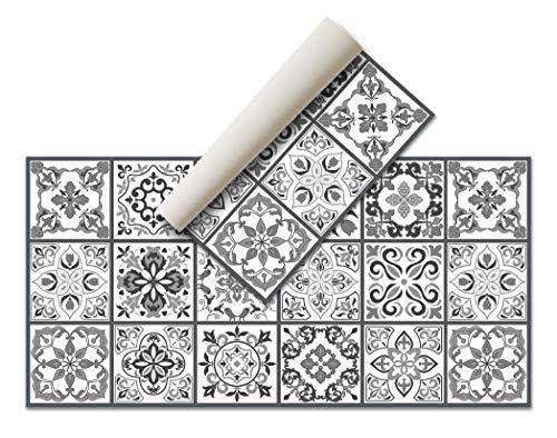 Alfombra Vinílica Hidráulica (120 x 60 cm, Negro-Gris) - Distintos Colores y tamaños - Alfombra Cocina, baño, salón...