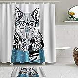 SUDISSKM de alfombras de baño con Cortinas de Ducha Alfombrillas de baño Antideslizantes Impermeables Conjuntos,Fox Funny en Bufanda suéter Gafas apuesto