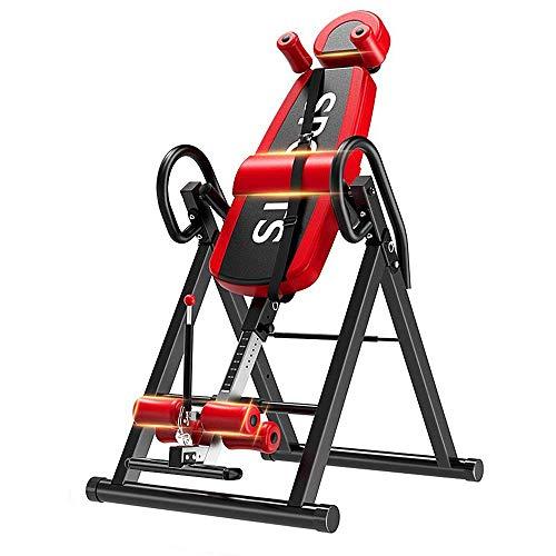 YOLEO Schwerkrafttrainer Inversionsbank klappbar Rückentrainer, volle vertikale Inversion 180° unterstützt maximal 136KG mit Kopfstütze Rückenkissen Schutzgürtel Körpergrßenskala … (Rot)