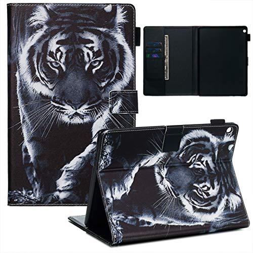 XFDSFDL® Schutzhülle für Huawei MediaPad M3 Lite 10 (10,1 Zoll) PU Lederhülle Flip Cover Tiger Muster mit Ständer Magnetverschluss Taschen Hülle Brieftasche Ledertasche, 04