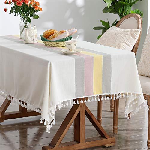 スクエアラウンドテーブルコットンリネン用テーブルクロス刺繍ステッチタッセルテーブルカバー用家の装飾パーティー結婚式屋外ベージュカラフル 140x140CM