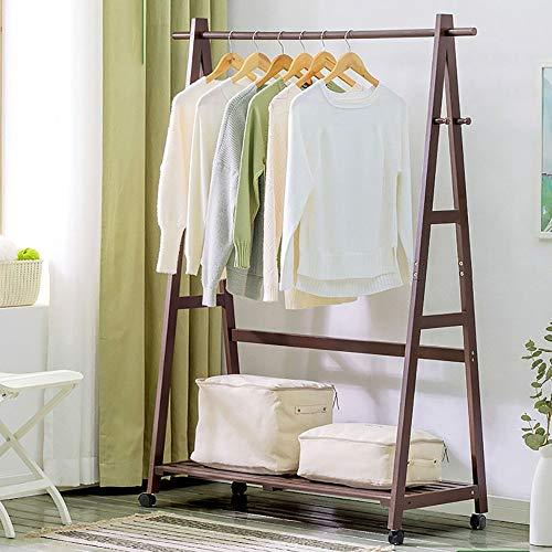 POETRY Effen houten standaard kapstok eenvoudige slaapkamer woonkamer kleerhanger kinderrek kapstok vrijstaande (kleur: C-bruin grootte: 80 cm)