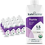 Kate Farms Adult Peptide 1.5 Sole-Source Nutrition Formula, Organic Enzymatically Hydrolyzed Plant-Based Protein Drink, Made Without Gluten, Soy, Dairy, or Corn, 11 Fluid Ounces, Plain, Case of 12