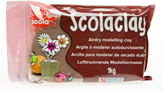 Scolaclay Air Drying Hardening Modelling Craft Clay 1Kg Pack Brown Terracotta by Scola