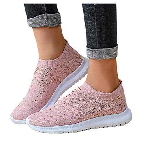 Aniywn Women s Sports Shoes Breathable Mesh Flat Running Shoes Casual Slip On Walking Shoes Lightweight Sneakers