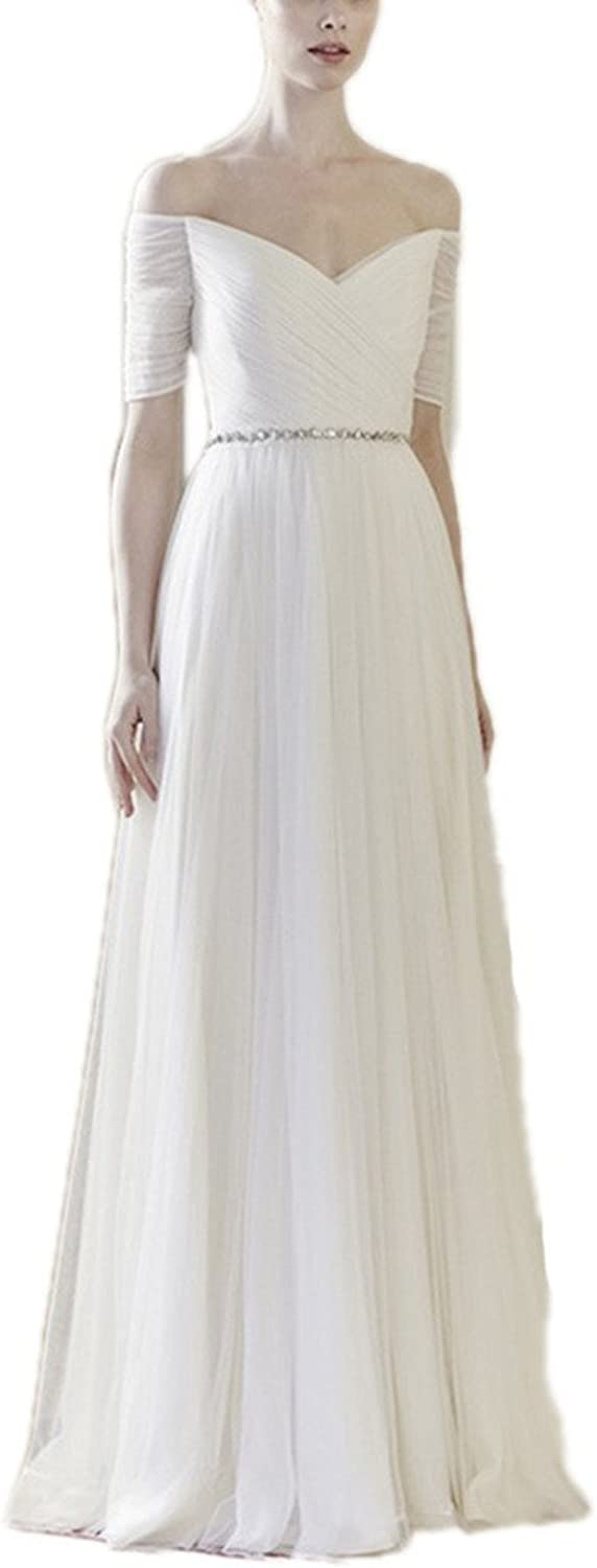 JoyVany Soft Tulle Half Sleeves Retro Prom Party Dress VNeck Floor Length Dress