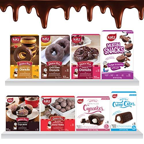 Katz Gluten Free The Chocolate Lovers Variety Pack | Chocolate Donuts, Chocolate Cupcake & Creme Cake, Chocolate Muffin Snacks | Dairy Free, Nut Free, Soy Free, Gluten Free (8 Packs Total)