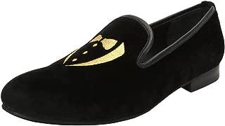 Bareskin Golden Tuxedo Design Embroidery Italian Cotton Velvet Slip-on Shoes for Men