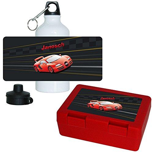 Brotdose + Trinkflasche Set mit Namen Janosch und schönem Auto-Motiv für Jungen   Frühstücks-Set für Schule und Kindergarten   Aluminium-Trinkflasche   Lunchbox   Vesper-Box