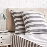 AmazonBasics - Kissenbezüge, Jersey, 2er-Pack, breite Streifen, 80 x 80 cm, Grau