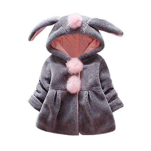 RuiyouQQ Baby Mädchen Mäntel Winterjacke Kinder Jacken Fell Warm Winter mit Kapuze Kleinkinder Warm Kleidung (Grau, 6-12 Monate)